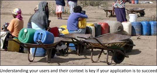 Women queue for water in Bushbuckridge, South Africa (photo Ken Banks, kiwanja.net)