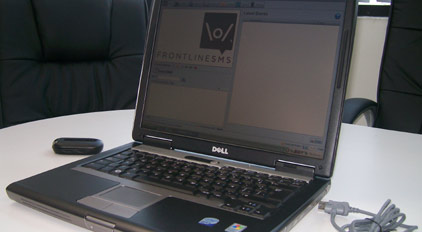 FrontlineSMS testing (Photo courtesy Winrock International)