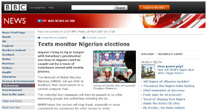 FrontlineSMS election monitoring