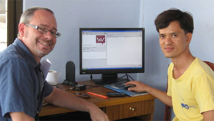 NAMA FrontlineSMS server: Robert Fitzgerald with Moul Sam who runs the server (Photo: Rob Fitzgerald)