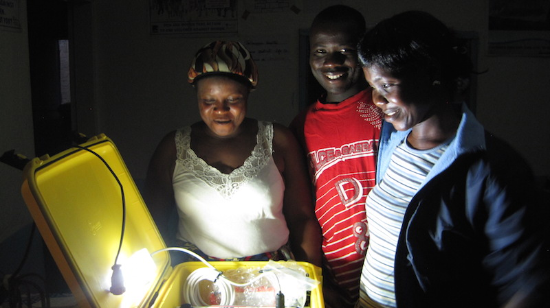 Liberian Health Workers receiving their  Solar Suitcase (Photo: We Care Solar)